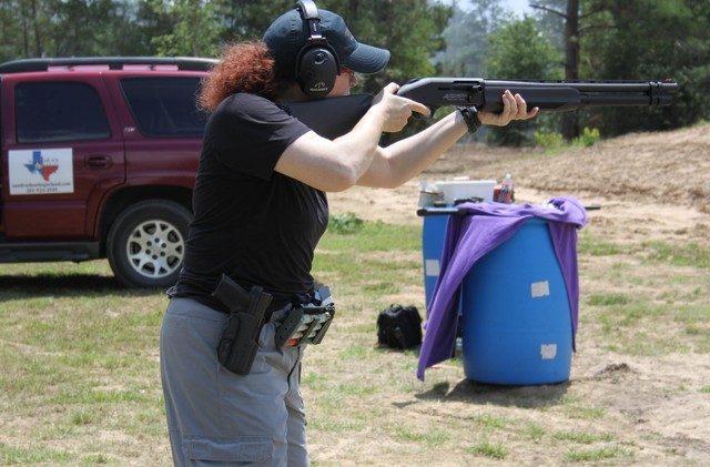 racking a shotgun