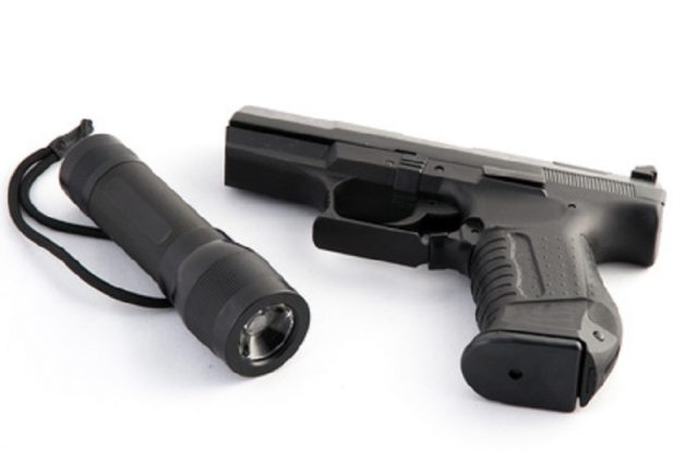 flashlight with a handgun